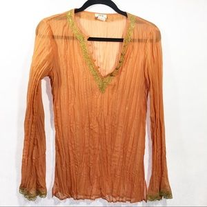 Cache Stretch V Neck Sheer Blouse Top Orange S